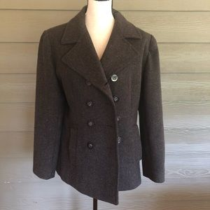 MDP Mario De Pinto Grey Wool Blend Coat Peacoat